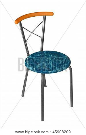 blue office chair with iron isolated on white background