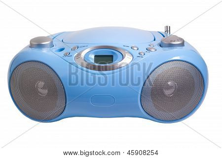 blue stereo CD mp3 radio  recorder isolated on white