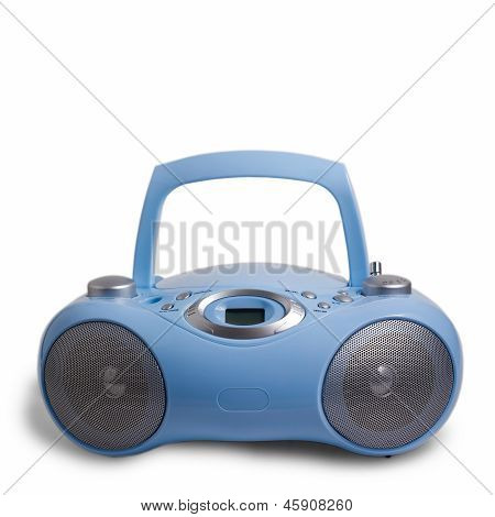 blue stereo CD mp3 radio cassette recorder isolated on white