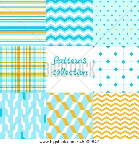 Simple geometric seamless patterns set in blue and yellow, vector