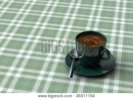 Cup Coffee On Table With Tablecloth