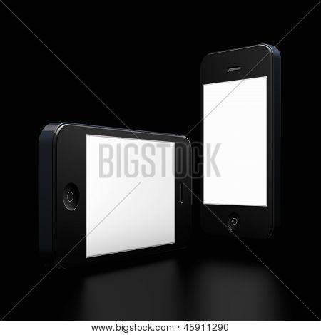 Two New Mobile Phones On Black Background