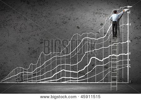 Voltar a ver a imagem do empresário gráficos de desenho na parede