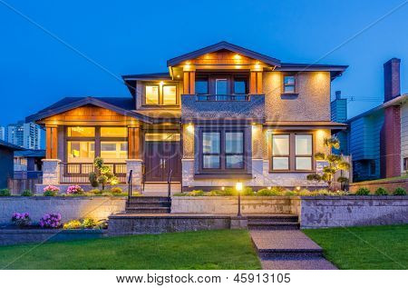 Luxury house at night in Vancouver, Canada.