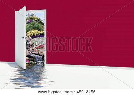 open door with waterfalls