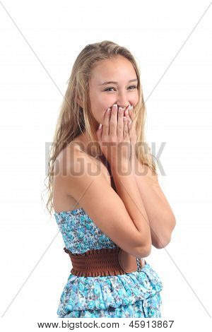Happy Teenager Laughing Timidity Covering Her Mouth With The Hands