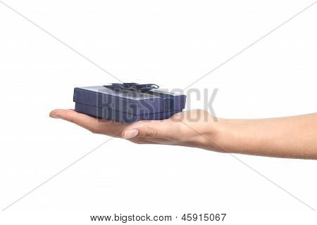 Woman Hand Holding A Blue Gift Box