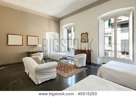 beautiful hotel room in a historic building, double room