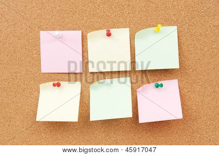 Thumbtack And Note Paper Group