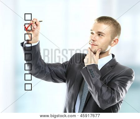 businessman choosing one of three options