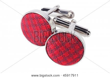 Pair Of Cuff Links On White Background
