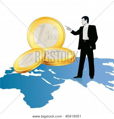 Businessman On Wold`s Map Pointing At Big Euro Coins.eps
