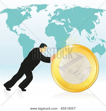 Businessman Pushing Euro Coin In Front Of The World`s Map.eps