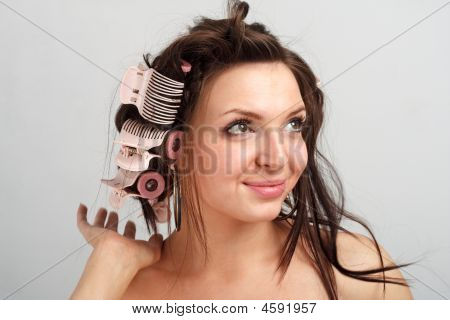 Girl In Hair Curlers