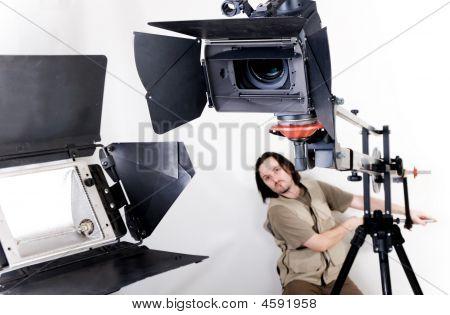Videocámara de alta definición en grúa