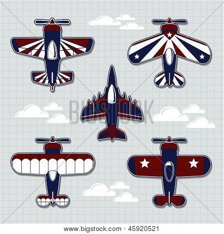 airplanes cartoon vector