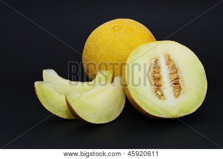 Melon isolated on a black background
