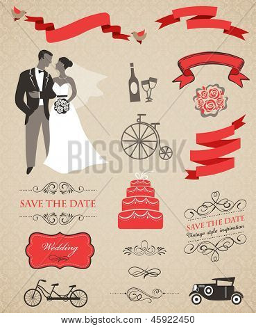 wedding vector set with graphic elements