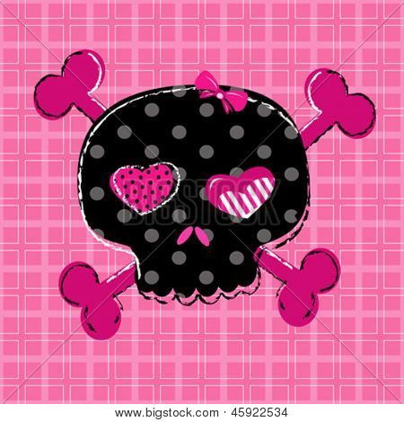 cute aggressive girlish black and red skull on pink background