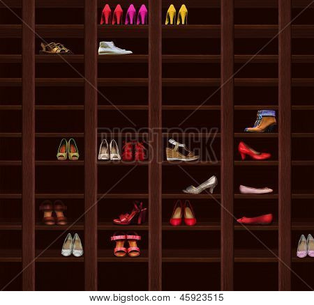 Wardrobe. Brown Wood Shelves With Women's Shoes. Fashion Footwear
