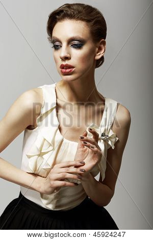 Vitality. Ultramodern Luxurious Supermodel In Fashion Sleeveless Dress. Ambition