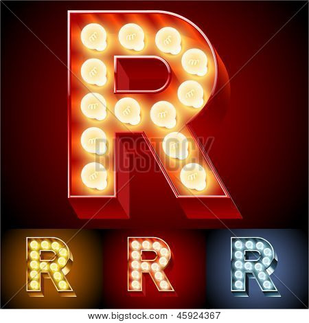 Vector illustration of realistic old lamp alphabet for light board. Red Gold and Silver options. Letter R