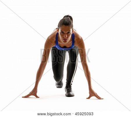 Healthy and fitness woman running on white background.