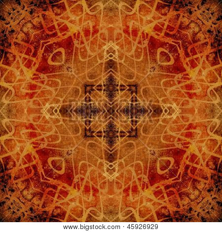 art eastern national traditional pattern in red, orange and brown colors