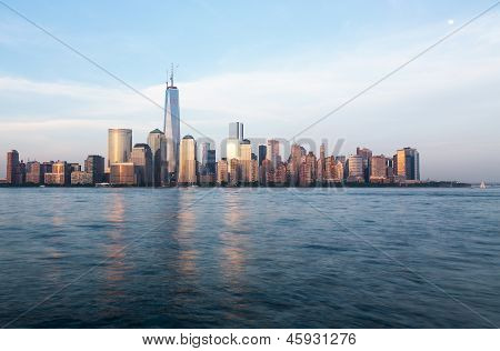 Skyline Of Lower Manhattan At Dusk