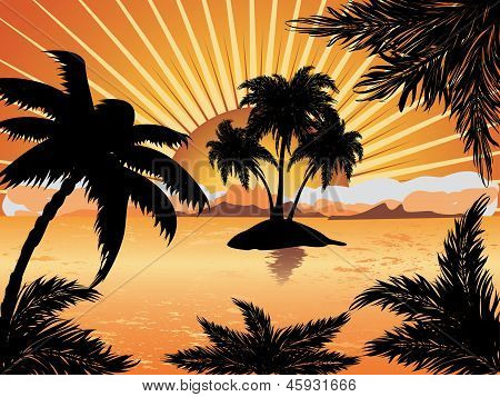 Sunset Tropical Island