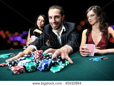 Poker player going