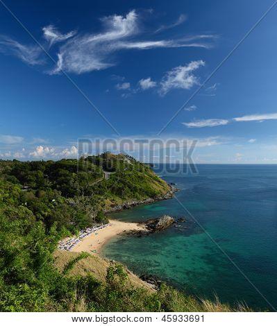 Tropical beach and blue sky with clouds. Ya Nui beach, Phuket island, Thailand