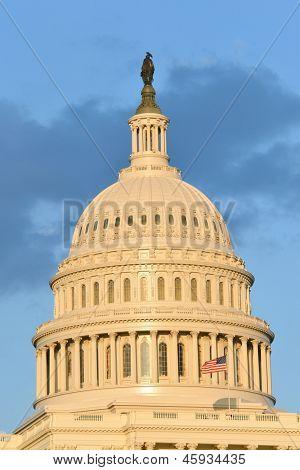 Washington DC, US Capitol Building dome detail at dusk