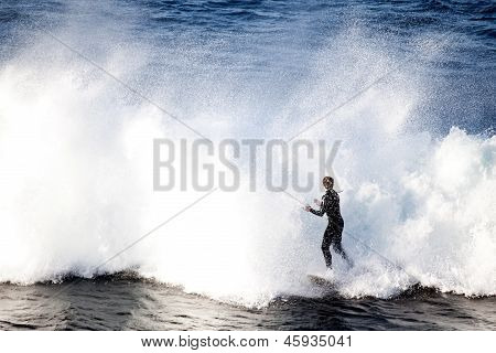 A Lone Surfer tackling huge waves