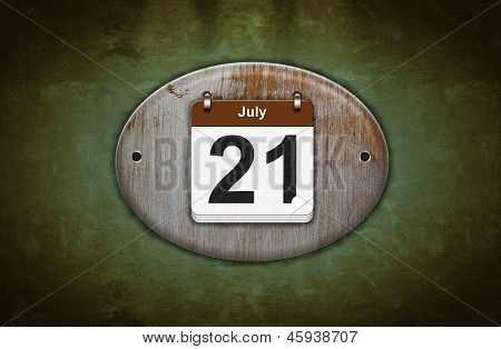 Old Wooden Calendar With July 21.
