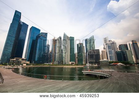 SINGAPORE - APR 15: A view of city in Marina Bay business district on Apr 15, 2012 on Singapore. Asian financial center the city state is one of the most dynamically developing countries in the world.