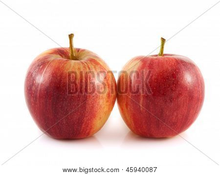 Isolated two red apples on a white background.