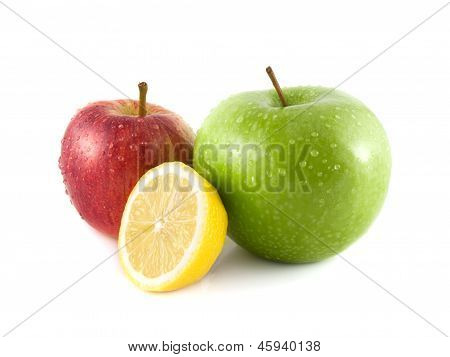 Isolated green and red apples with yellow lemon