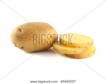 New potato with slices isolated on white