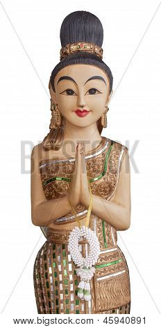 Sawatdee Lady - Wooden Statue of a traditional Thai