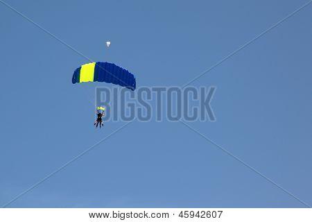 parachute on blue sky