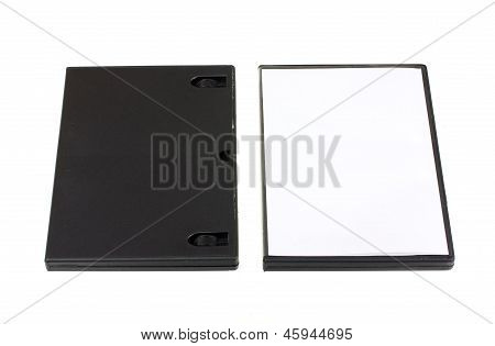 Black And White Cd Dvd Boxes Isolated On White Background
