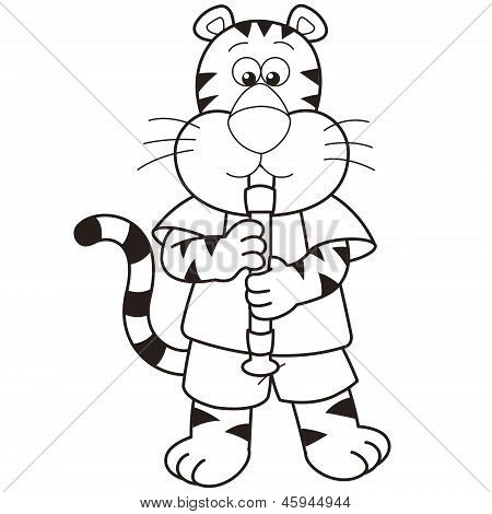 Cartoon Tiger Playing An Oboe