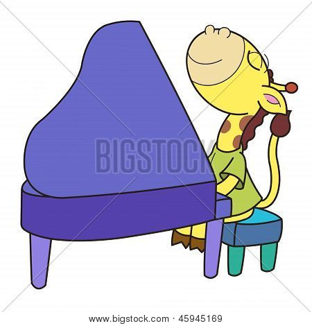 Cartoon Giraffe Playing A Piano