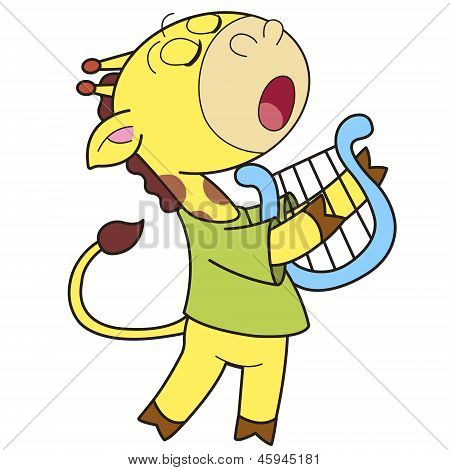 Cartoon Giraffe Playing A Harp