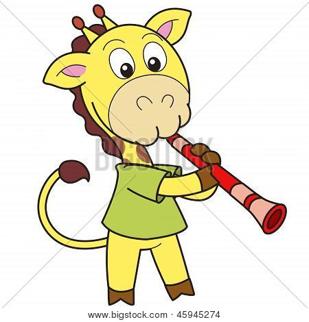 Cartoon Giraffe Playing A Clarinet