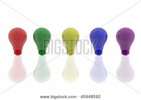 Several Colorful Lightbulbs Symbols