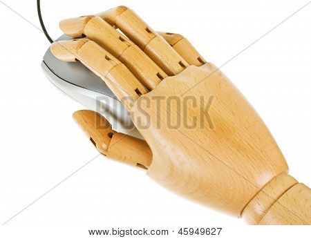 Wooden, Human Hand With Computer Mouse Isolated On A White Background