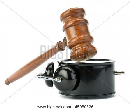 Gavel and clock as soundboard isolated on white background