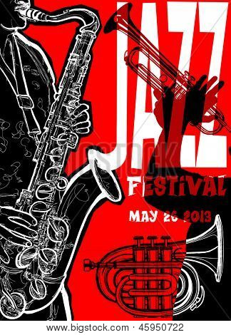 Vector illustration of a Jazz poster with saxophonist